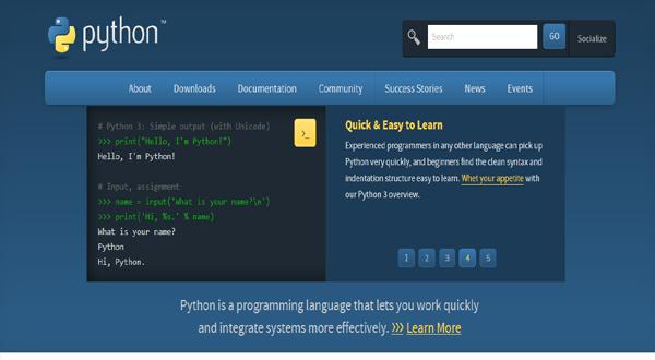 python公式ホームページ